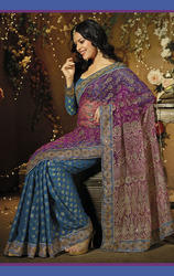 Blue+and+Pink+Color+Net+and+Brasso+Saree+with+Blouse