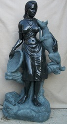 Tribal Lady Statue with Pet