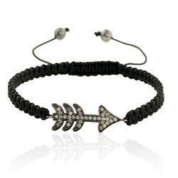 Diamond Arrow Charm Macrame Bracelet