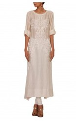 Long White Kurta With Embroidery