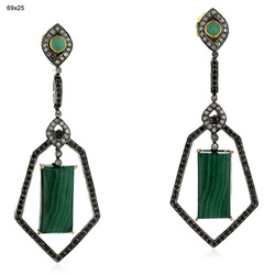 Diamond Spinal Malachite Dangle Earrings