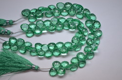 Florite Quartz Faceted Heart Beads