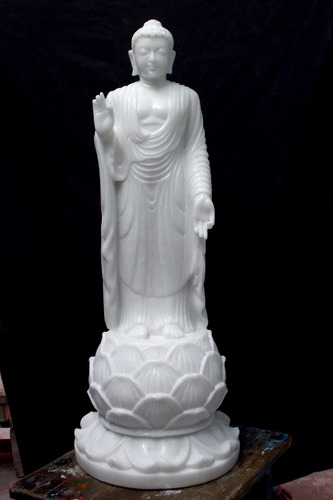 Enchanting Lord Buddha in Pure White Marble