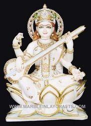 Marble Saraswati Statue On Lotus