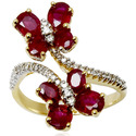 Ruby Flower Ring 18K Solid Yellow Gold