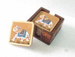 Wooden Emboss Tea Coaster