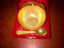 Gold Plated Apple Bowl with 1 Spoon