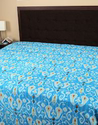 Sky Blue Paisley Printed Kantha Work Cotton Bedspreads
