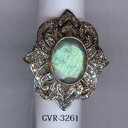 925 Silver Rose Cut Diamond Stone Ring