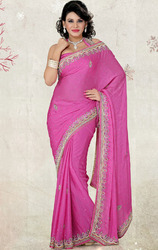 Party+Wear+Satin+Chiffon+Saree+with+Blouse