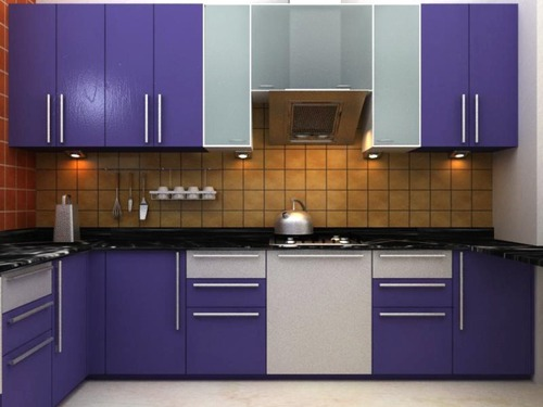 Kitchen design i shape india for small space layout white for Modular kitchen designs for small kitchens in india