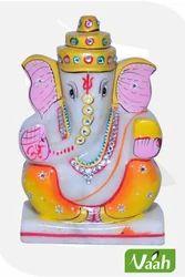 Vaah Marble Ganesha Painted Idol