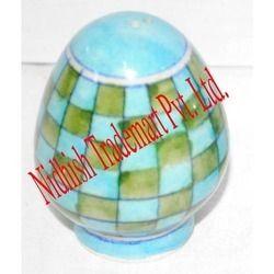 blue pottery salt pepper shaker