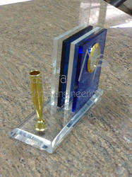 Acrylic Pen & Visiting Card Holder with Clock