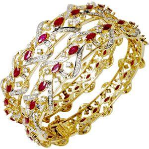 Gold Ruby Bangle, Gemstone Studded Gold Bangle