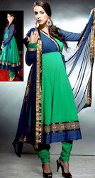 Green And Dark Blue Georgette Churidar Kameez With Dupatta