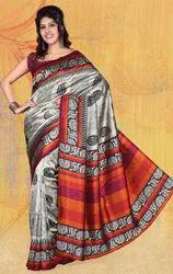 Chikoo+Jacquard+Bhagalpuri+Silk+Printed+Saree