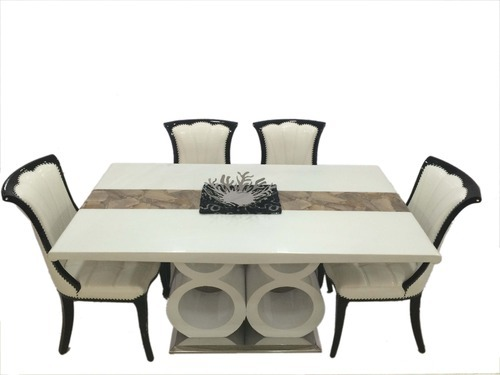 furniture antique grey themed dining table and chair with 4 grey metal