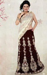 Cream+and+Dark+Maroon+Color+Shimmer+and+Velvet+Lehenga+Saree