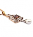 yellow gold vintage rhodolite pearl amp diamond pendant