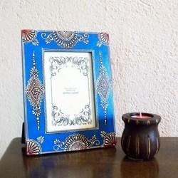 Painted And Embossed Photo Frame Royal Blue