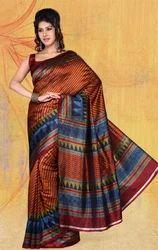 Chikoo+Jacquard+Bhagalpuri+Silk+Printed+Saree+with+Blouse