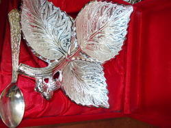 Leaf Shape Silver Plated Bowl With Spoon
