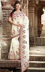 Cream+Color+Faux+Georgette+Saree+with+Blouse