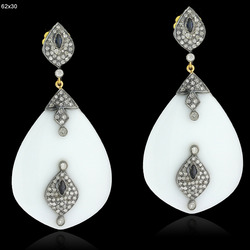 Pave Diamond White Agate Gemstone Earrings