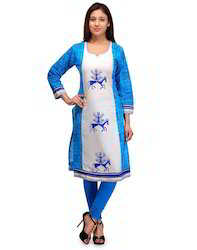 Offwhite+and+Turquoise+Kurta+with+Printed+Motifs