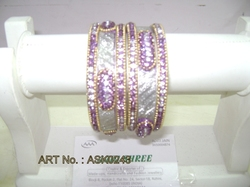 Hyderabadi Bangle With Purple And Silver Stones