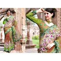 orange green net designer wedding party wear sari
