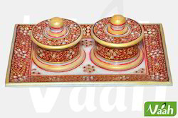 Vaah Marble Two Donga Set with Tray