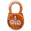 Lock Shape Wooden Key Holder