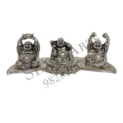 White Metal Feng Shui Laughing Buddha in Oxidized Silver