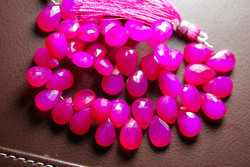 Hot Pink Chalcedony Faceted Pear Briolettes Size 10-12 mm