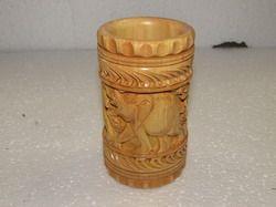 Kadam Wood Carving Pen Stand