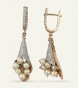 yellow gold pearl drop diamond earrings
