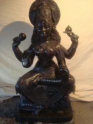 Devi Chamunda Black Granite Stone Statue