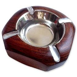 Silver Plated Wooden Ashtray
