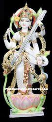 Marble Maa Saraswati Standing Statue