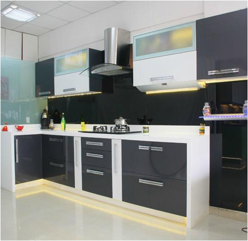 Indian kitchen with modern look jarul enterprises for Best material for kitchen cabinets in india
