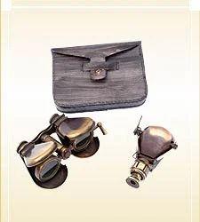Brass Binocular & Monocular With Leather Case