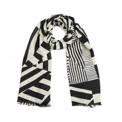 Geo Print Long Scarf Black