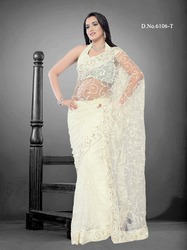 Simple White Designer Stylish Sarees
