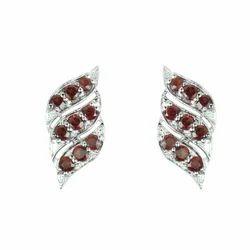 Garnet Studded Silver Earring