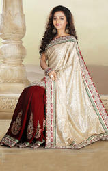 Beige+and+Red+Color+Velvet+Saree+with+Blouse