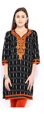 Ikkat Classic Kurti With Embroidery