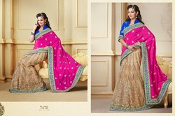 beautiful net velvet lehenga saree