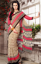 Brown+and+Cream+Faux+Georgette+Printed+Saree+with+Blouse